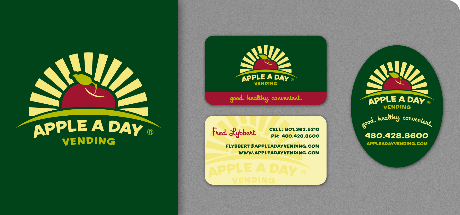 Apple A Day Logo, Business Cards, Label