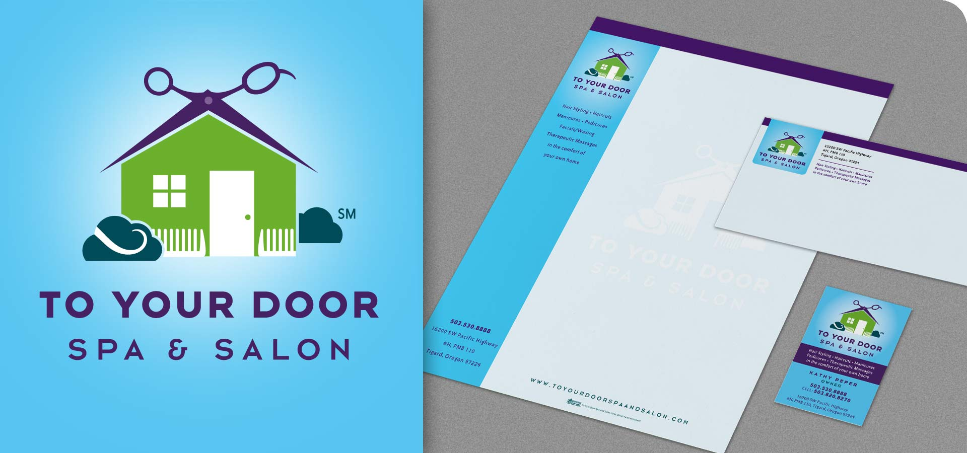 To Your Door Spa and Salon Logo + ID Package
