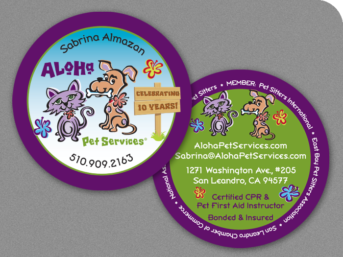 Aloha Pet Services Circular Business Cards