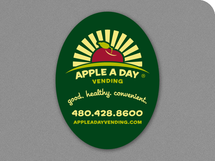 Apple A Day Vending Oval Label
